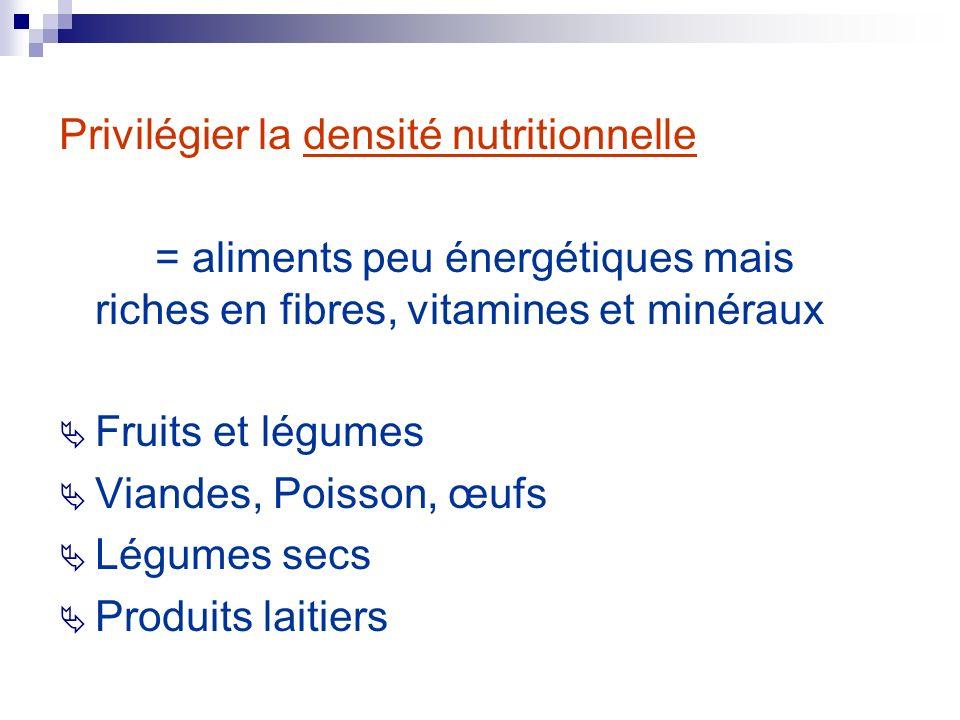 Privilégier la densité nutritionnelle = aliments peu énergétiques mais riches en fibres, vitamines et minéraux Fruits et légumes Viandes, Poisson, œuf