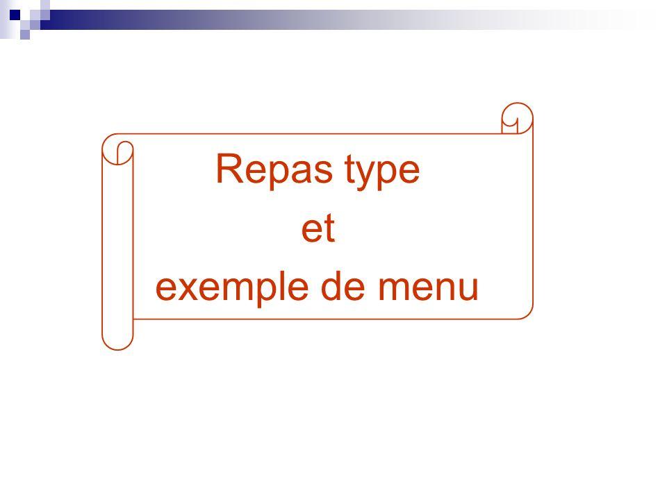 Repas type et exemple de menu