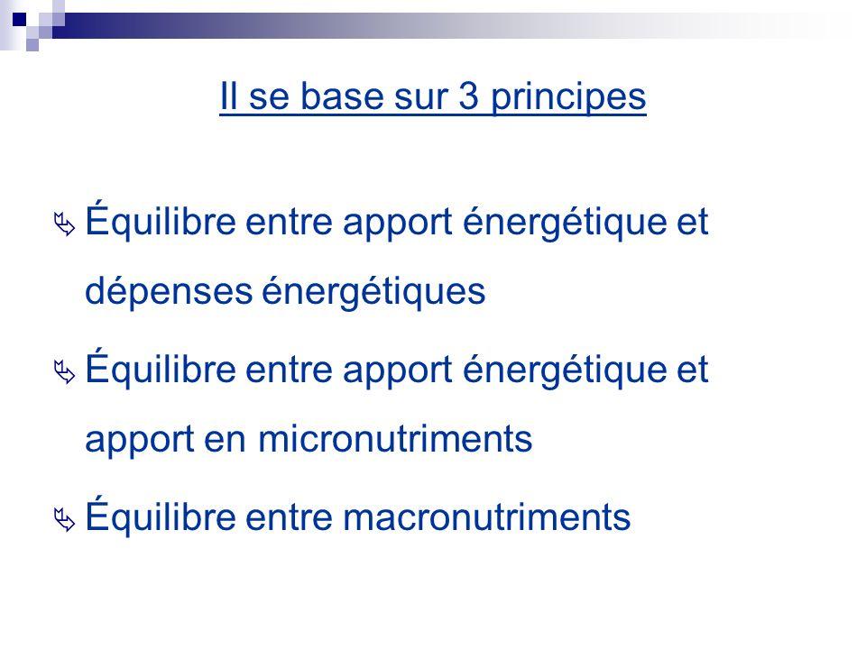 Il se base sur 3 principes Équilibre entre apport énergétique et dépenses énergétiques Équilibre entre apport énergétique et apport en micronutriments