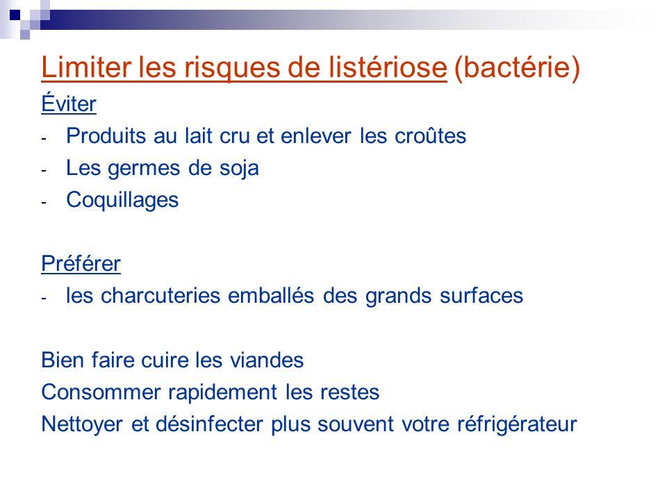 Limiter les risques de listériose (bactérie) Éviter - Produits au lait cru et enlever les croûtes - Les germes de soja - Coquillages Préférer - les ch
