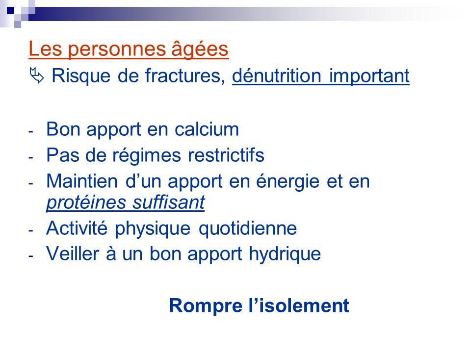 Les personnes âgées Risque de fractures, dénutrition important - Bon apport en calcium - Pas de régimes restrictifs - Maintien dun apport en énergie e