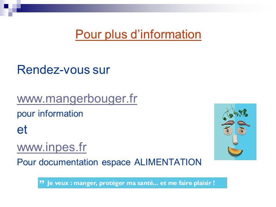 Pour plus dinformation Rendez-vous sur www.mangerbouger.fr pour information et www.inpes.fr Pour documentation espace ALIMENTATION