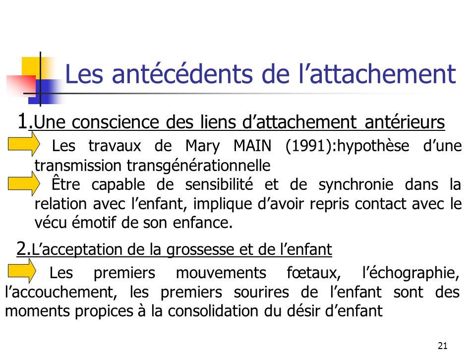 21 Les antécédents de lattachement 1.Une conscience des liens dattachement antérieurs Les travaux de Mary MAIN (1991):hypothèse dune transmission tran