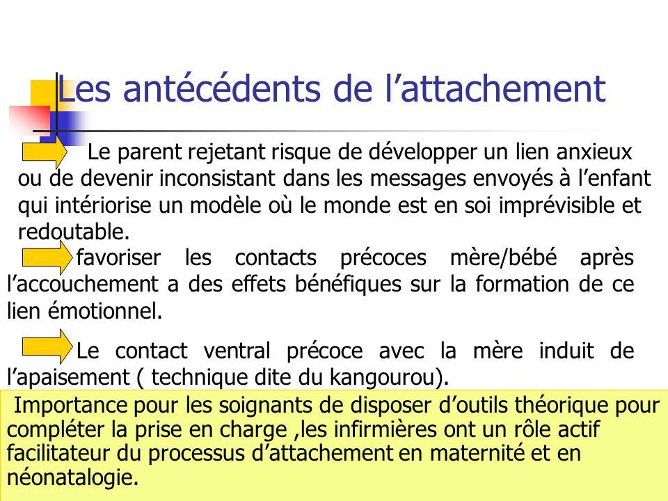 22 Le parent rejetant risque de développer un lien anxieux ou de devenir inconsistant dans les messages envoyés à lenfant qui intériorise un modèle où