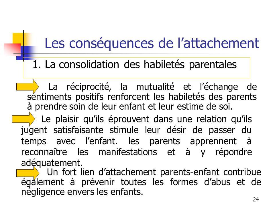 24 Les conséquences de lattachement La réciprocité, la mutualité et léchange de sentiments positifs renforcent les habiletés des parents à prendre soi