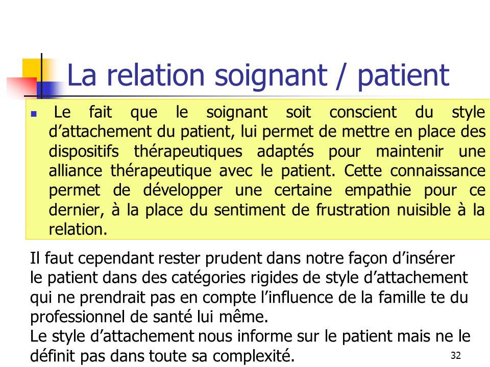 La relation soignant / patient Le fait que le soignant soit conscient du style dattachement du patient, lui permet de mettre en place des dispositifs
