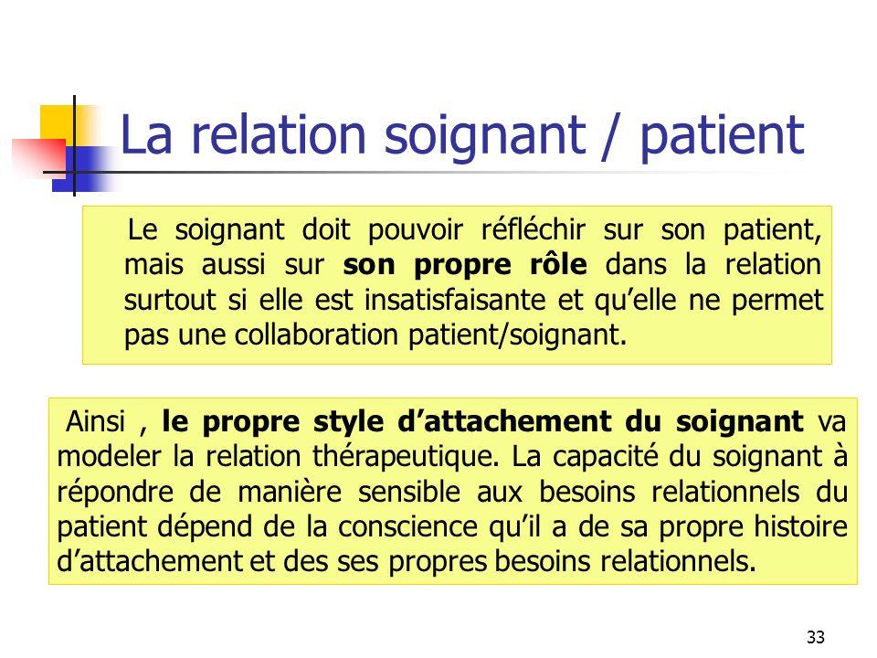 La relation soignant / patient Le soignant doit pouvoir réfléchir sur son patient, mais aussi sur son propre rôle dans la relation surtout si elle est