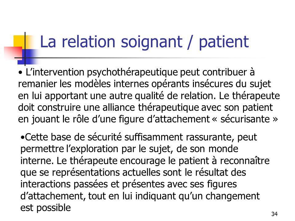 34 Lintervention psychothérapeutique peut contribuer à remanier les modèles internes opérants insécures du sujet en lui apportant une autre qualité de