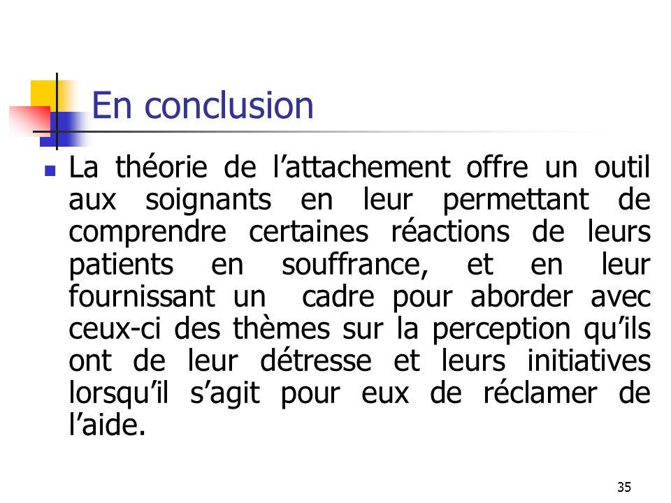 35 En conclusion La théorie de lattachement offre un outil aux soignants en leur permettant de comprendre certaines réactions de leurs patients en sou