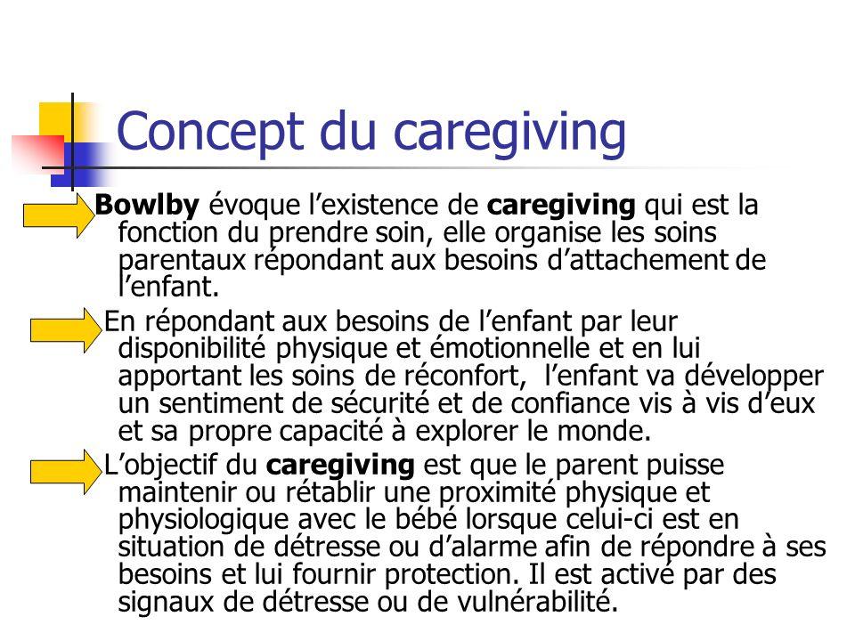 Concept du caregiving Bowlby évoque lexistence de caregiving qui est la fonction du prendre soin, elle organise les soins parentaux répondant aux beso