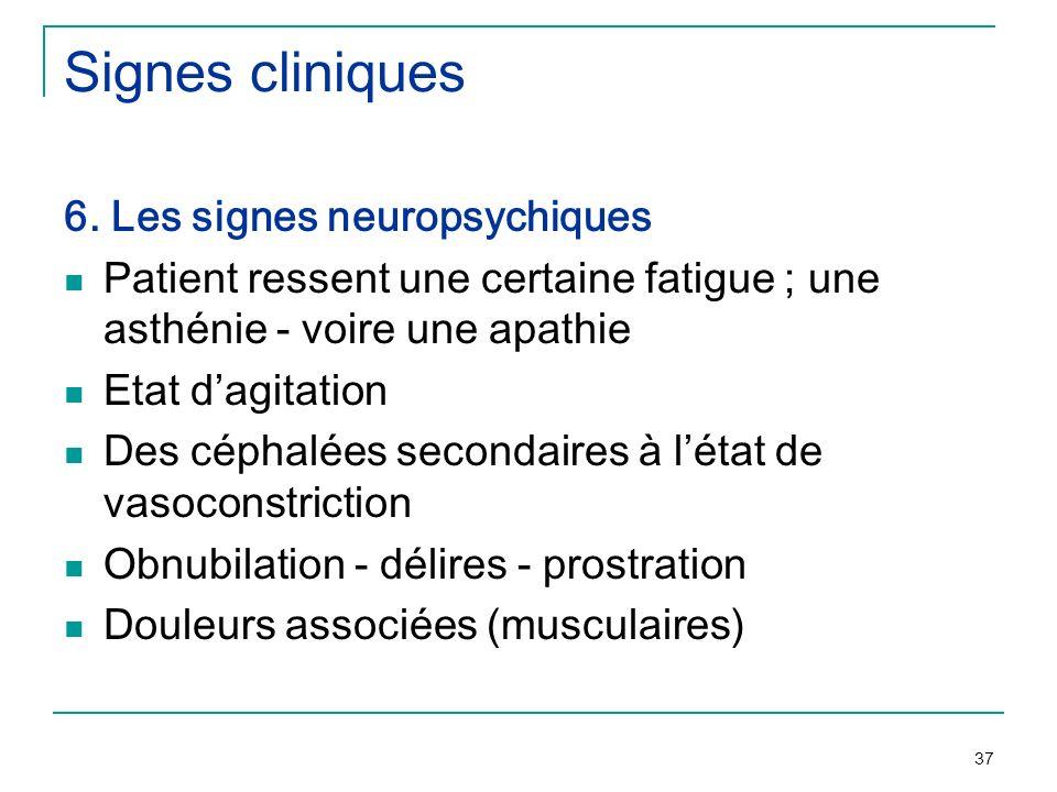 37 Signes cliniques 6. Les signes neuropsychiques Patient ressent une certaine fatigue ; une asthénie - voire une apathie Etat dagitation Des céphalée