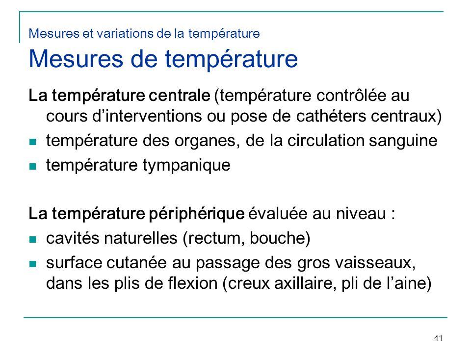 41 Mesures et variations de la température Mesures de température La température centrale (température contrôlée au cours dinterventions ou pose de ca