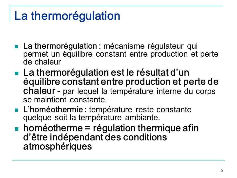 5 La thermorégulation La thermorégulation : mécanisme régulateur qui permet un équilibre constant entre production et perte de chaleur La thermorégula