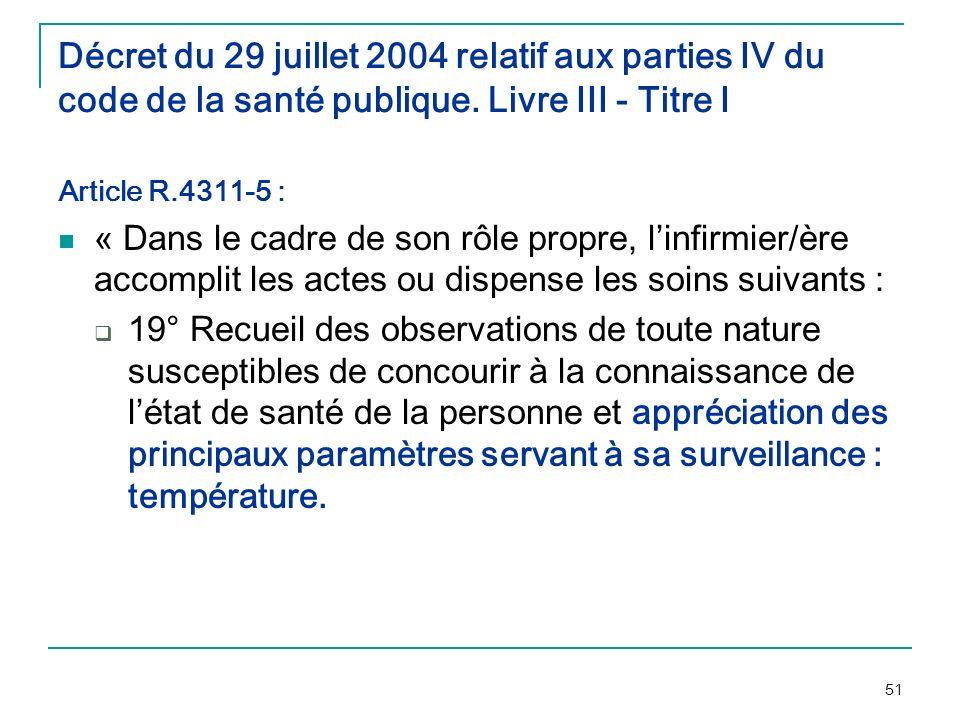 51 Décret du 29 juillet 2004 relatif aux parties IV du code de la santé publique. Livre III - Titre I Article R.4311-5 : « Dans le cadre de son rôle p
