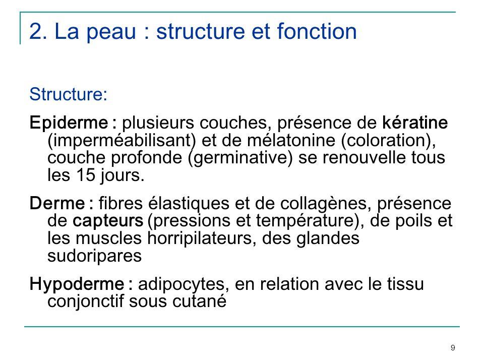 9 2. La peau : structure et fonction Structure: Epiderme : plusieurs couches, présence de kératine (imperméabilisant) et de mélatonine (coloration), c