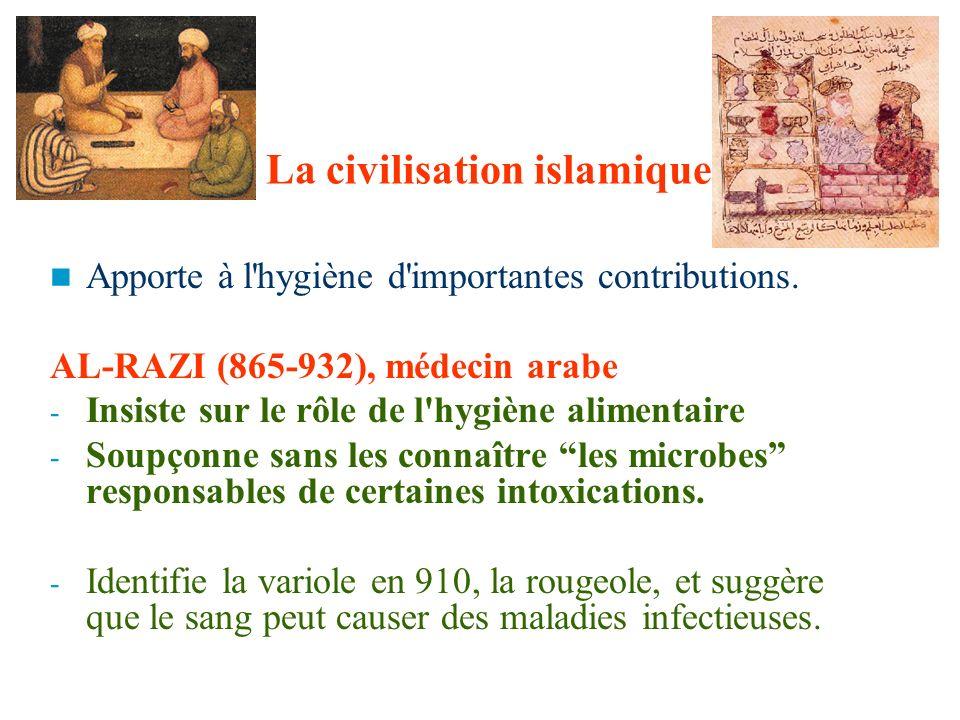 La civilisation islamique Apporte à l'hygiène d'importantes contributions. AL-RAZI (865-932), médecin arabe - Insiste sur le rôle de l'hygiène aliment