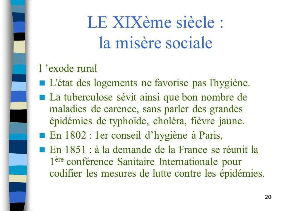 20 LE XIXème siècle : la misère sociale l exode rural L'état des logements ne favorise pas l'hygiène. La tuberculose sévit ainsi que bon nombre de mal