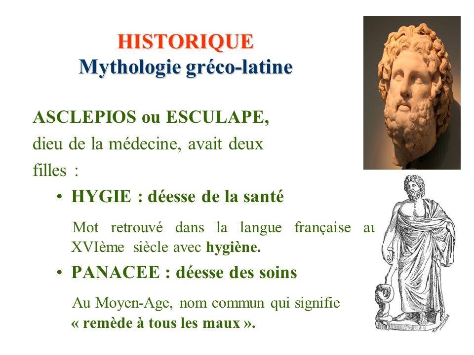 HISTORIQUE Mythologie gréco-latine ASCLEPIOS ou ESCULAPE, dieu de la médecine, avait deux filles : HYGIE : déesse de la santé Mot retrouvé dans la lan
