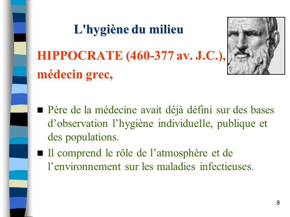 8 L'hygiène du milieu HIPPOCRATE (460-377 av. J.C.), médecin grec, Père de la médecine avait déjà défini sur des bases dobservation lhygiène individue