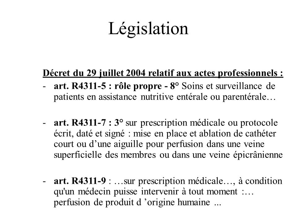 Législation Décret du 29 juillet 2004 relatif aux actes professionnels : -art. R4311-5 : rôle propre - 8° Soins et surveillance de patients en assista