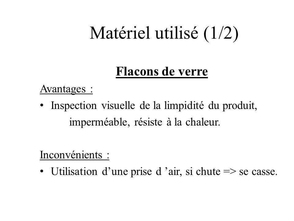 Matériel utilisé (1/2) Flacons de verre Avantages : Inspection visuelle de la limpidité du produit, imperméable, résiste à la chaleur. Inconvénients :