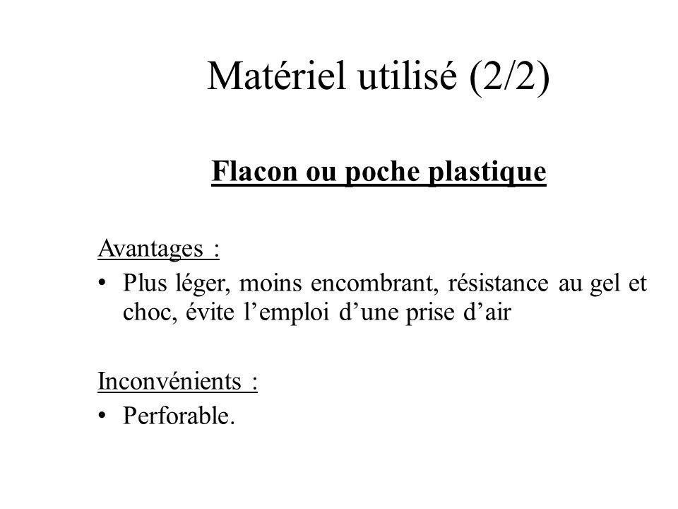 Flacon ou poche plastique Avantages : Plus léger, moins encombrant, résistance au gel et choc, évite lemploi dune prise dair Inconvénients : Perforabl