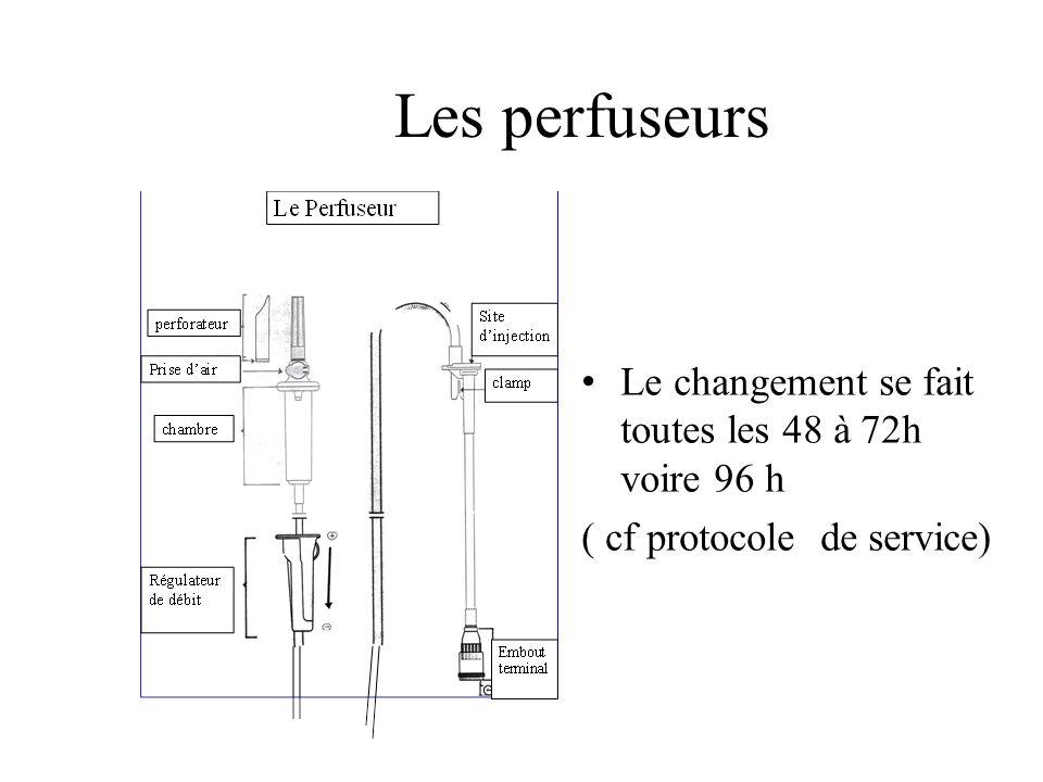 Les perfuseurs Le changement se fait toutes les 48 à 72h voire 96 h ( cf protocole de service)