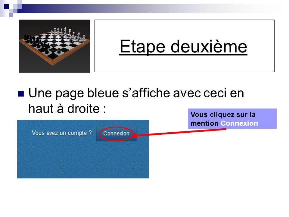 Etape deuxième Une page bleue saffiche avec ceci en haut à droite : Vous cliquez sur la mention Connexion