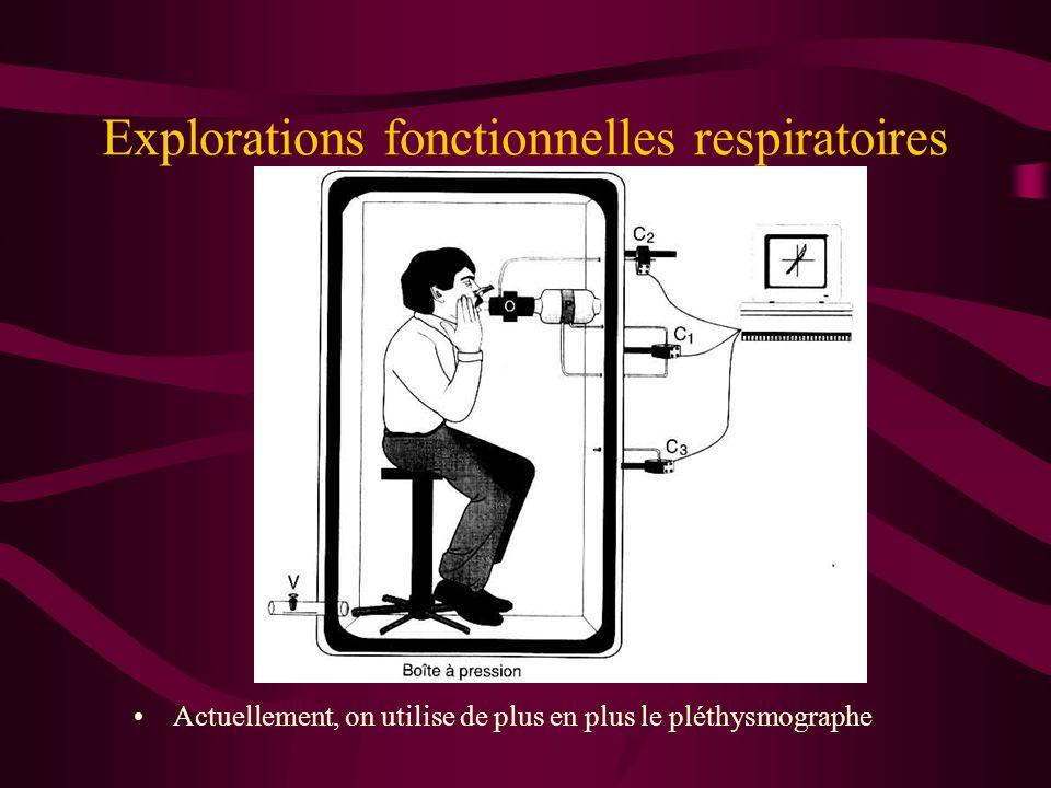 Explorations fonctionnelles respiratoires Actuellement, on utilise de plus en plus le pléthysmographe