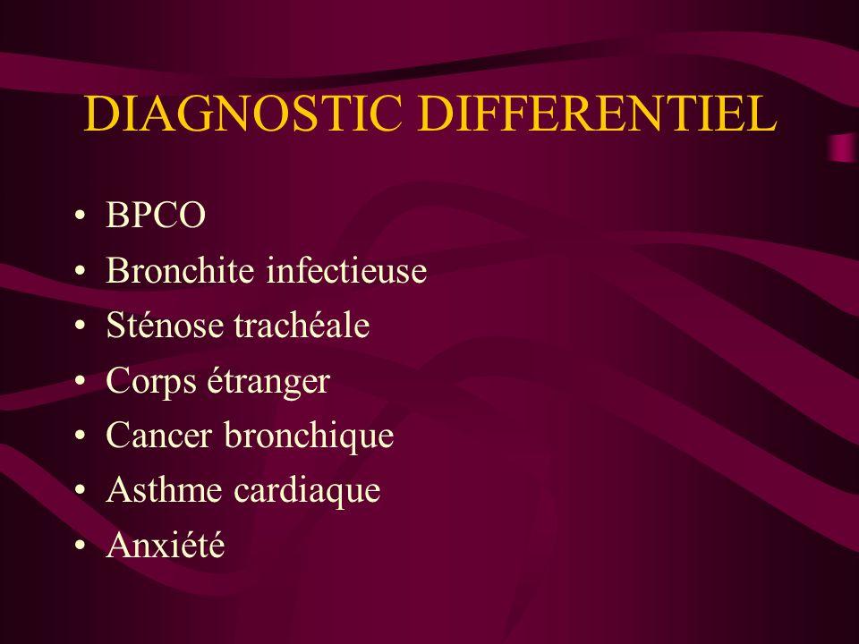 DIAGNOSTIC DIFFERENTIEL BPCO Bronchite infectieuse Sténose trachéale Corps étranger Cancer bronchique Asthme cardiaque Anxiété