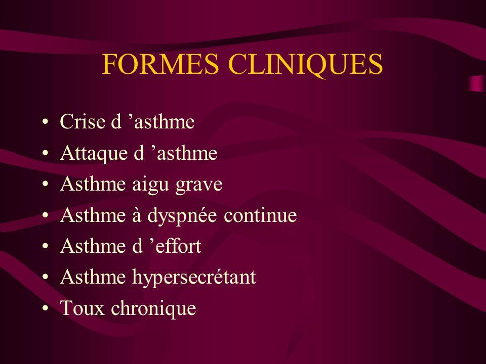FORMES CLINIQUES Crise d asthme Attaque d asthme Asthme aigu grave Asthme à dyspnée continue Asthme d effort Asthme hypersecrétant Toux chronique