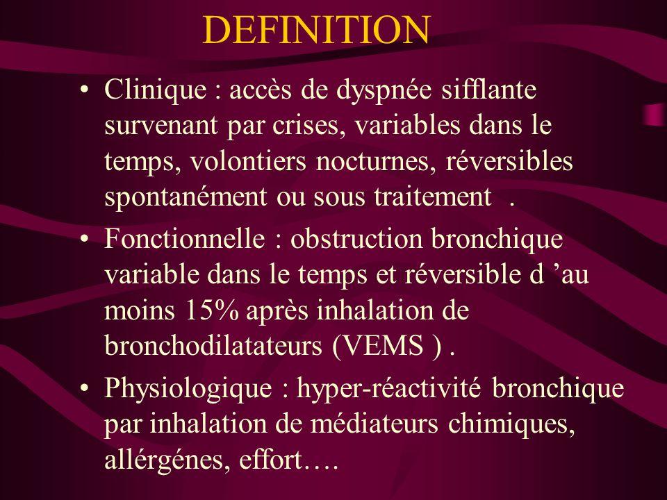 DEFINITION Clinique : accès de dyspnée sifflante survenant par crises, variables dans le temps, volontiers nocturnes, réversibles spontanément ou sous