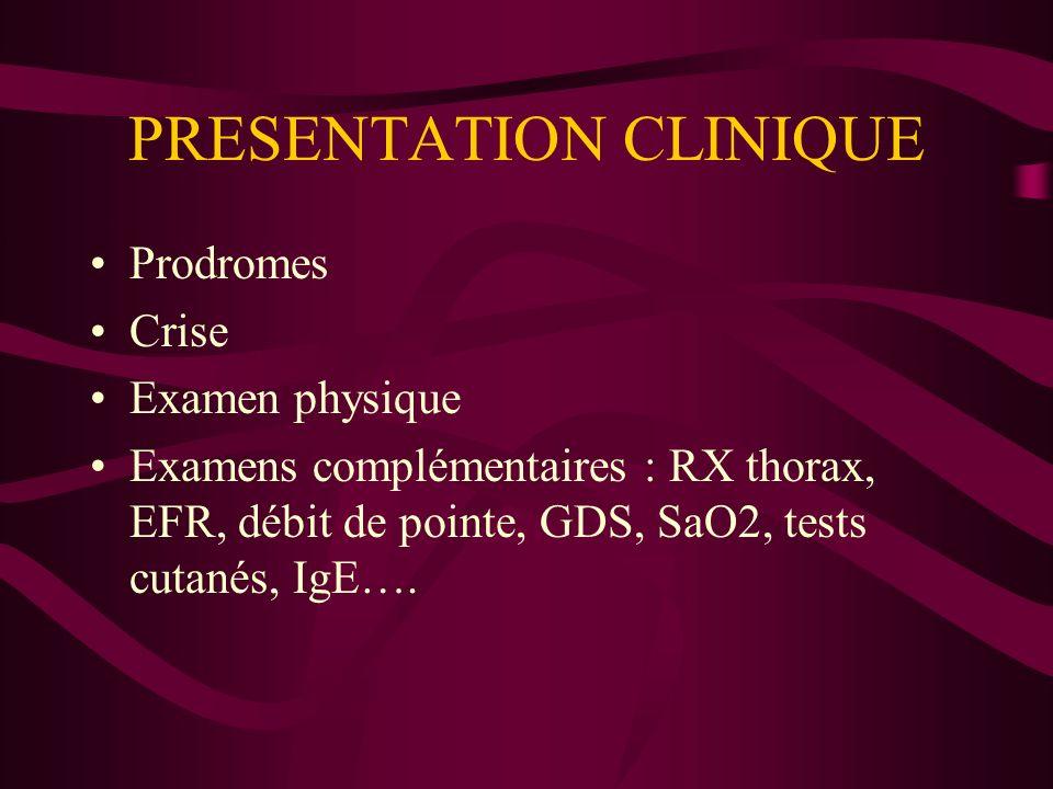 PRESENTATION CLINIQUE Prodromes Crise Examen physique Examens complémentaires : RX thorax, EFR, débit de pointe, GDS, SaO2, tests cutanés, IgE….