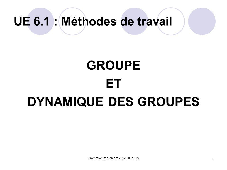 Promotion septembre 2012-2015 - IV1 UE 6.1 : Méthodes de travail GROUPE ET DYNAMIQUE DES GROUPES