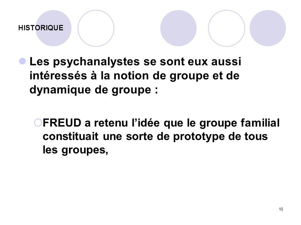 10 HISTORIQUE Les psychanalystes se sont eux aussi intéressés à la notion de groupe et de dynamique de groupe : FREUD a retenu lidée que le groupe fam