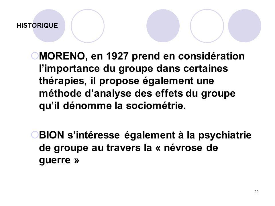 11 HISTORIQUE MORENO, en 1927 prend en considération limportance du groupe dans certaines thérapies, il propose également une méthode danalyse des eff