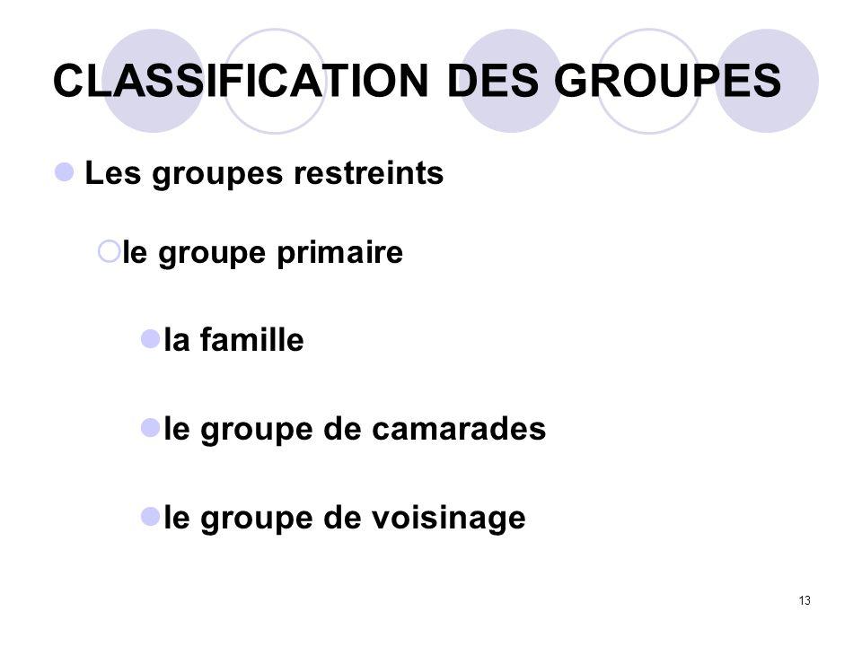 13 CLASSIFICATION DES GROUPES Les groupes restreints le groupe primaire la famille le groupe de camarades le groupe de voisinage