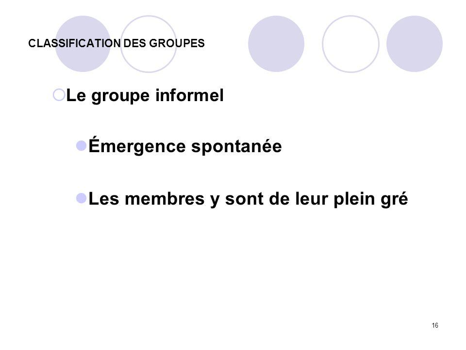 16 CLASSIFICATION DES GROUPES Le groupe informel Émergence spontanée Les membres y sont de leur plein gré