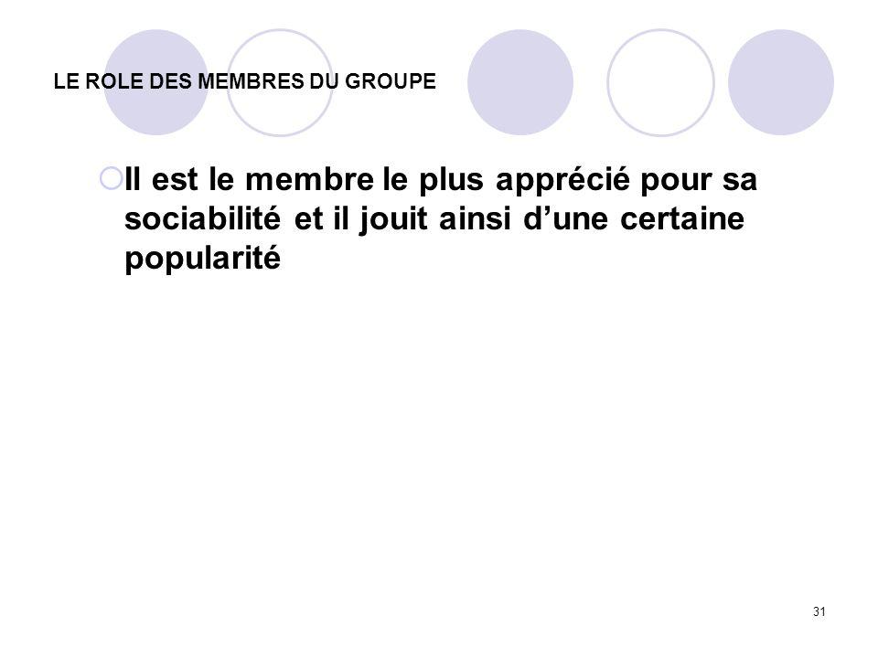 31 LE ROLE DES MEMBRES DU GROUPE Il est le membre le plus apprécié pour sa sociabilité et il jouit ainsi dune certaine popularité