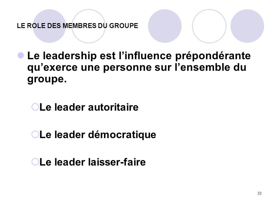 33 LE ROLE DES MEMBRES DU GROUPE Le leadership est linfluence prépondérante quexerce une personne sur lensemble du groupe. Le leader autoritaire Le le