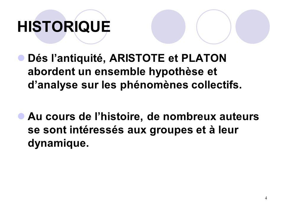4 HISTORIQUE Dés lantiquité, ARISTOTE et PLATON abordent un ensemble hypothèse et danalyse sur les phénomènes collectifs. Au cours de lhistoire, de no