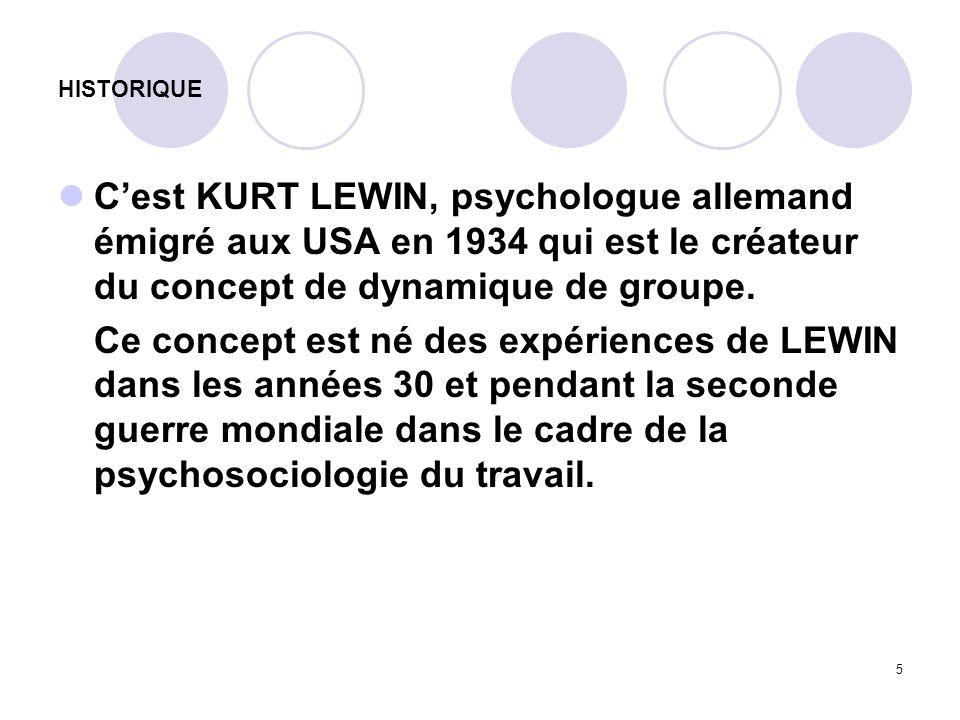 5 HISTORIQUE Cest KURT LEWIN, psychologue allemand émigré aux USA en 1934 qui est le créateur du concept de dynamique de groupe. Ce concept est né des