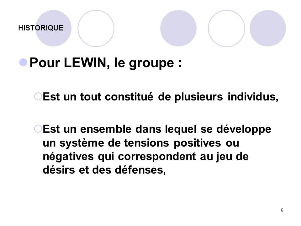 6 HISTORIQUE Pour LEWIN, le groupe : Est un tout constitué de plusieurs individus, Est un ensemble dans lequel se développe un système de tensions pos