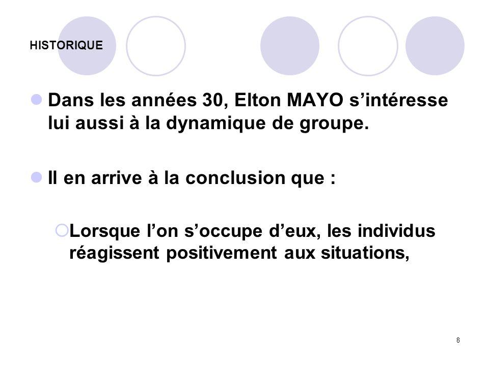 8 HISTORIQUE Dans les années 30, Elton MAYO sintéresse lui aussi à la dynamique de groupe. Il en arrive à la conclusion que : Lorsque lon soccupe deux