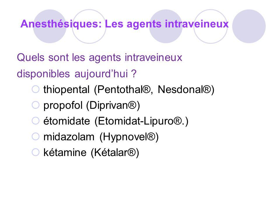 Quels sont les agents intraveineux disponibles aujourdhui .
