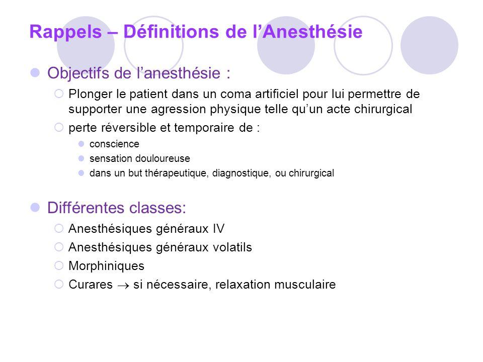 Midazolam( Hypnovel) * EI: Amnésie rétrograde, dépression respiratoire, myasthénie CI : effets dépresseurs circulatoires contre-indique le produit chez les patients en état de choc.