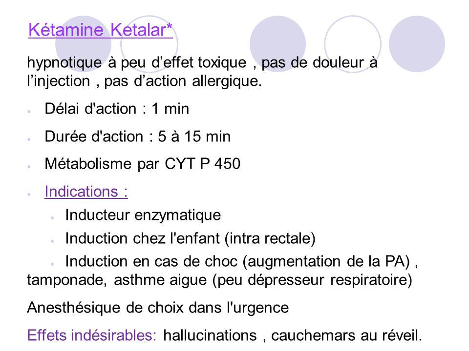 Kétamine Ketalar* hypnotique à peu deffet toxique, pas de douleur à linjection, pas daction allergique.