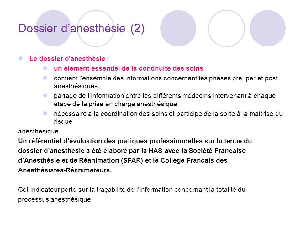 Dossier danesthésie (2) Le dossier d anesthésie : un élément essentiel de la continuité des soins contient l ensemble des informations concernant les phases pré, per et post anesthésiques.