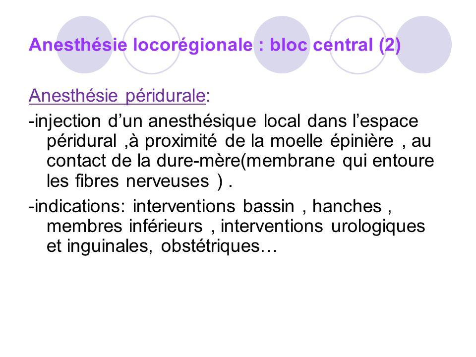 Anesthésie locorégionale : bloc central (2) Anesthésie péridurale: -injection dun anesthésique local dans lespace péridural,à proximité de la moelle épinière, au contact de la dure-mère(membrane qui entoure les fibres nerveuses ).