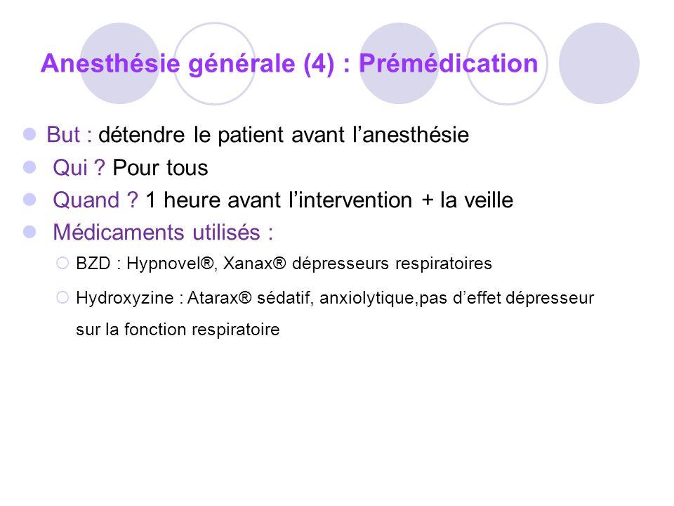 Anesthésie générale (4) : Prémédication But : détendre le patient avant lanesthésie Qui .